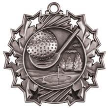"2 1/4"" Silver Golf Ten Star Medal"