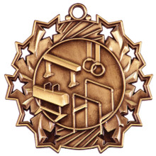 "2 1/4"" Bronze Gymnastics Ten Star Medal"