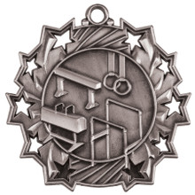 "2 1/4"" Silver Gymnastics Ten Star Medal"