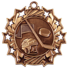 "2 1/4"" Bronze Hockey Ten Star Medal"