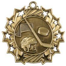 """2 1/4"""" Gold Hockey Ten Star Medal"""
