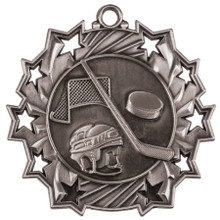 "2 1/4"" Silver Hockey Ten Star Medal"