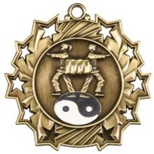 "2 1/4"" Gold Martial Arts Ten Star Medal"
