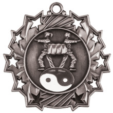 "2 1/4"" Silver Martial Arts Ten Star Medal"