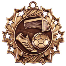 "2 1/4"" Bronze Soccer Ten Star Medal"