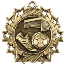 """2 1/4"""" Gold Soccer Ten Star Medal"""