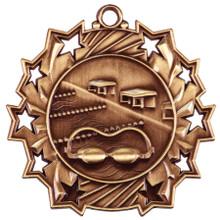 "2 1/4"" Bronze Swimming Ten Star Medal"