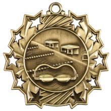 "2 1/4"" Gold Swimming Ten Star Medal"