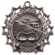 "2 1/4"" Silver Swimming Ten Star Medal"