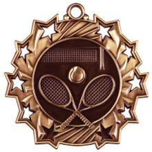 """2 1/4"""" Bronze Tennis Ten Star Medal"""