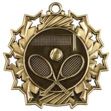 """2 1/4"""" Gold Tennis Ten Star Medal"""