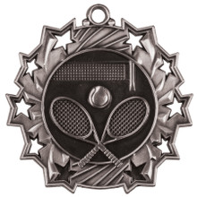 "2 1/4"" Silver Tennis Ten Star Medal"