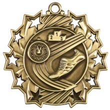 "2 1/4"" Gold Track Ten Star Medal"