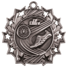 "2 1/4"" Silver Track Ten Star Medal"