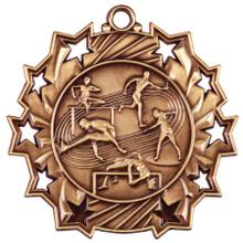 "2 1/4"" Bronze Track & Field Ten Star Medal"