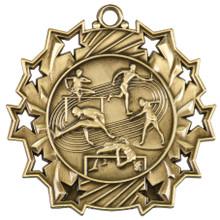 """2 1/4"""" Gold Track & Field Ten Star Medal"""