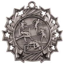 "2 1/4"" Silver Track & Field Ten Star Medal"