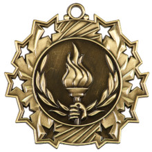 """2 1/4"""" Gold Victory Ten Star Medal"""