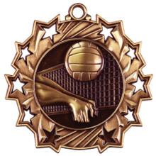 """2 1/4"""" Bronze Volleyball Ten Star Medal"""