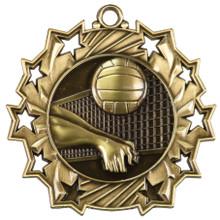 "2 1/4"" Gold Volleyball Ten Star Medal"