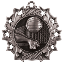 "2 1/4"" Silver Volleyball Ten Star Medal"