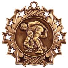 """2 1/4"""" Bronze Wrestling Ten Star Medal"""