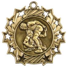 """2 1/4"""" Gold Wrestling Ten Star Medal"""