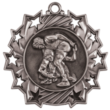 "2 1/4"" Silver Wrestling Ten Star Medal"