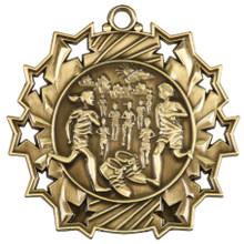 "2 1/4"" Gold Cross Country Ten Star Medal"