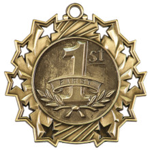 """2 1/4"""" Gold 1st Place Ten Star Medal"""