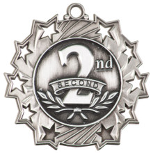 """2 1/4"""" Silver 2nd Place Ten Star Medal"""