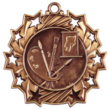 "2 1/4"" Bronze Art Ten Star Medal"
