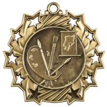 """2 1/4"""" Gold Art Ten Star Medal"""