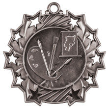 "2 1/4"" Silver Art Ten Star Medal"