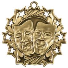 """2 1/4"""" Gold Drama Ten Star Medal"""