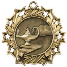 "2 1/4"" Gold Graduate Ten Star Medal"