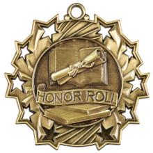"2 1/4"" Gold Honor Roll Ten Star Medal"