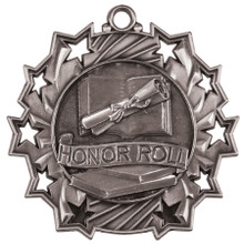 "2 1/4"" Silver Honor Roll Ten Star Medal"