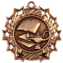 "2 1/4"" Bronze Lamp of Knowledge Ten Star Medal"