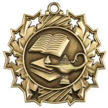 """2 1/4"""" Gold Lamp of Knowledge Ten Star Medal"""