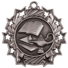 "2 1/4"" Silver Lamp of Knowledge Ten Star Medal"