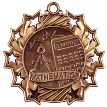 "2 1/4"" Bronze Math Ten Star Medal"