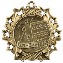 """2 1/4"""" Gold Math Ten Star Medal"""
