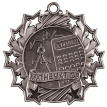 "2 1/4"" Silver Math Ten Star Medal"