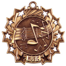 "2 1/4"" Bronze Music Ten Star Medal"