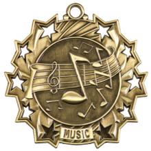 """2 1/4"""" Gold Music Ten Star Medal"""