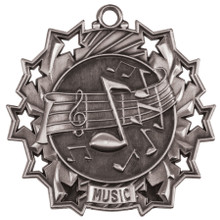 "2 1/4"" Silver Music Ten Star Medal"