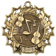 "2 1/4"" Gold Orchestra Ten Star Medal"