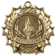 "2 1/4"" Gold Participant Ten Star Medal"