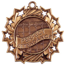 "2 1/4"" Bronze Perfect Attendance Ten Star Medal"